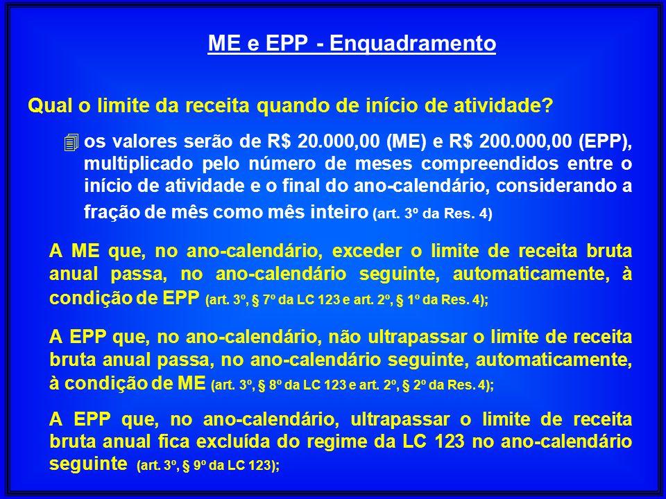 Qual o limite da receita quando de início de atividade? 4 os valores serão de R$ 20.000,00 (ME) e R$ 200.000,00 (EPP), multiplicado pelo número de mes