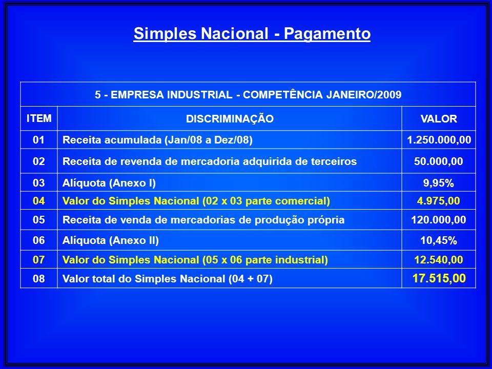 5 - EMPRESA INDUSTRIAL - COMPETÊNCIA JANEIRO/2009 ITEM DISCRIMINAÇÃOVALOR 01Receita acumulada (Jan/08 a Dez/08)1.250.000,00 02Receita de revenda de me