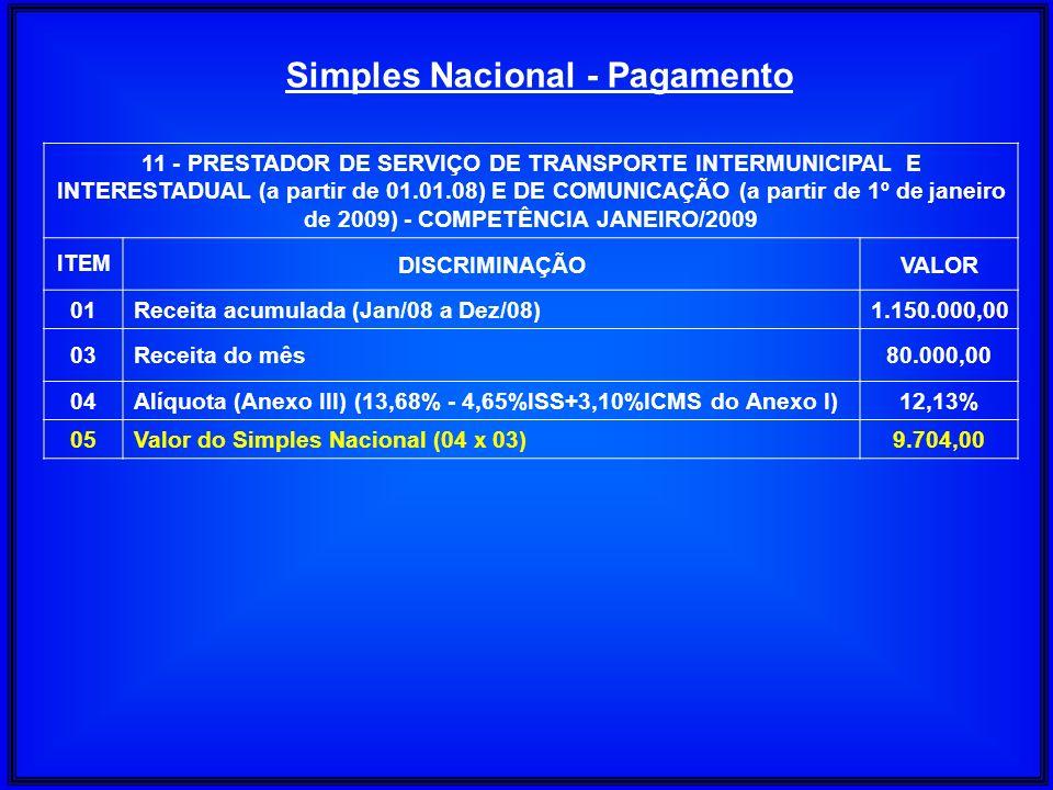11 - PRESTADOR DE SERVIÇO DE TRANSPORTE INTERMUNICIPAL E INTERESTADUAL (a partir de 01.01.08) E DE COMUNICAÇÃO (a partir de 1º de janeiro de 2009) - C