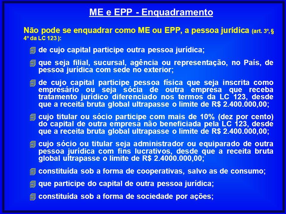 Não pode se enquadrar como ME ou EPP, a pessoa jurídica (art. 3º, § 4º da LC 123 ): 4 de cujo capital participe outra pessoa jurídica; 4 que seja fili