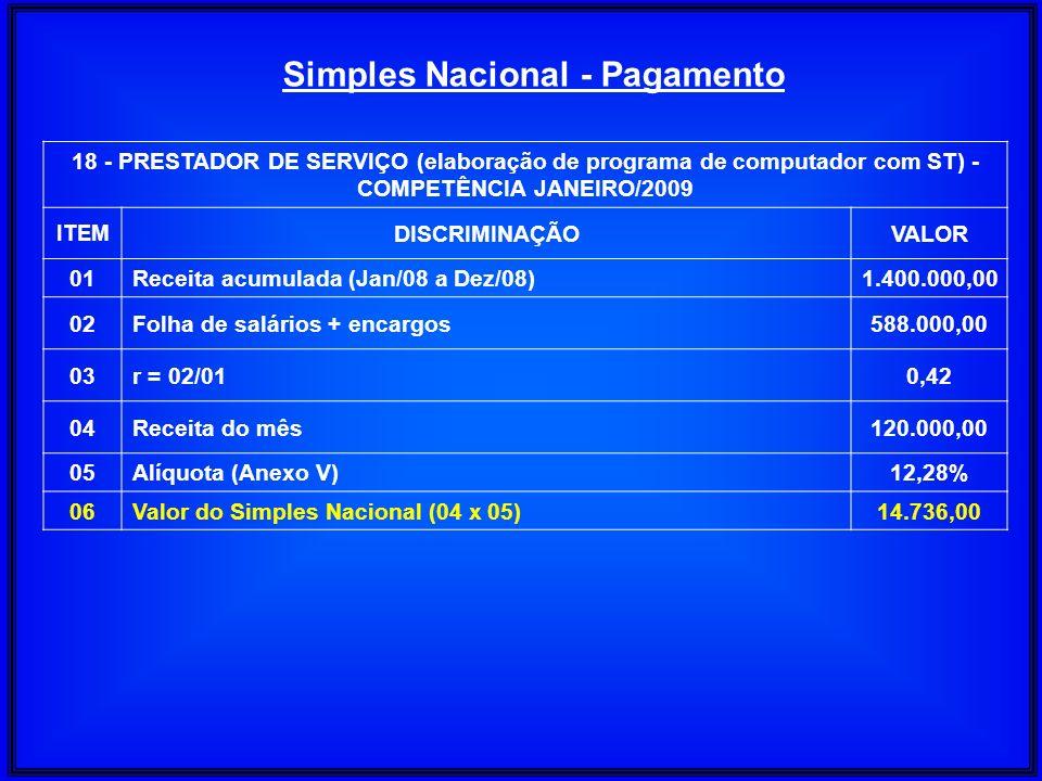 18 - PRESTADOR DE SERVIÇO (elaboração de programa de computador com ST) - COMPETÊNCIA JANEIRO/2009 ITEM DISCRIMINAÇÃOVALOR 01Receita acumulada (Jan/08