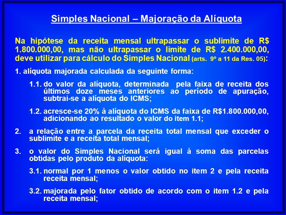 Na hipótese da receita mensal ultrapassar o sublimite de R$ 1.800.000,00, mas não ultrapassar o limite de R$ 2.400.000,00, deve utilizar para cálculo