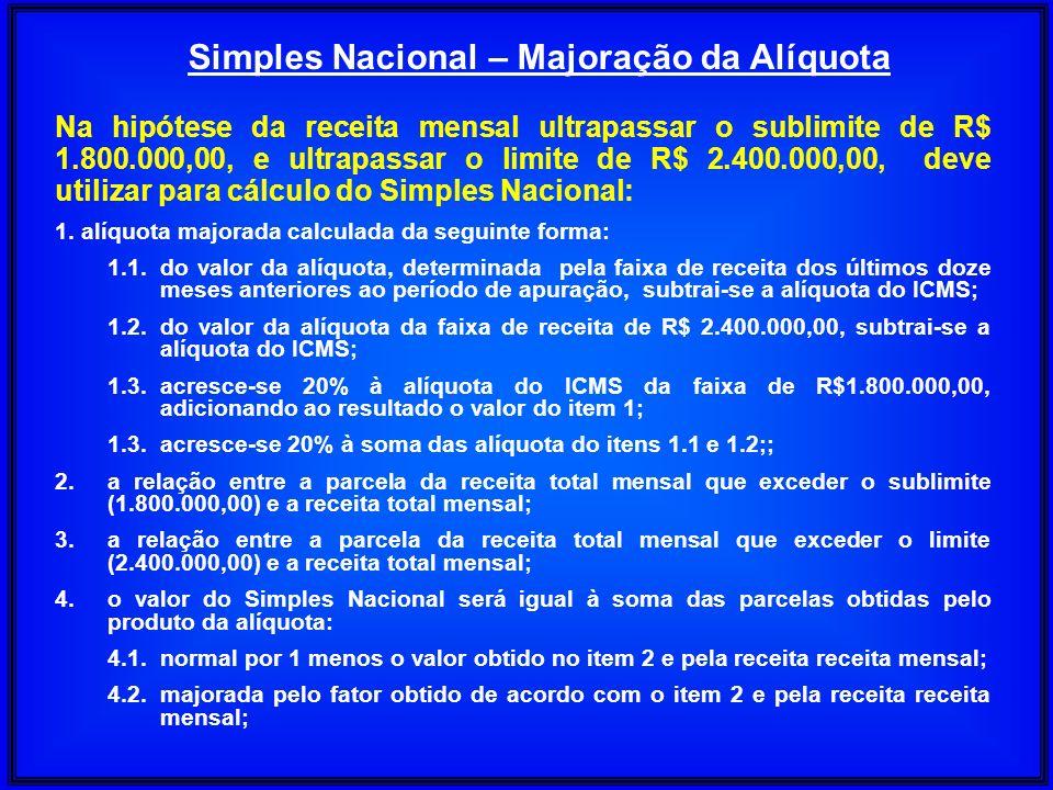 Na hipótese da receita mensal ultrapassar o sublimite de R$ 1.800.000,00, e ultrapassar o limite de R$ 2.400.000,00, deve utilizar para cálculo do Sim