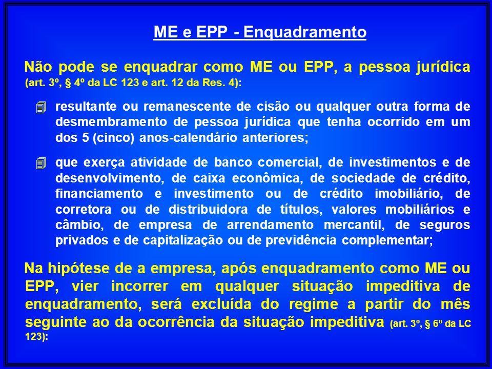 Não pode se enquadrar como ME ou EPP, a pessoa jurídica (art. 3º, § 4º da LC 123 e art. 12 da Res. 4): 4 resultante ou remanescente de cisão ou qualqu