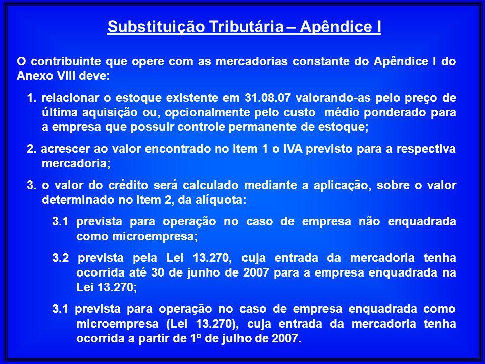 O contribuinte que opere com as mercadorias constante do Apêndice I do Anexo VIII deve: 1. relacionar o estoque existente em 31.08.07 valorando-as pel
