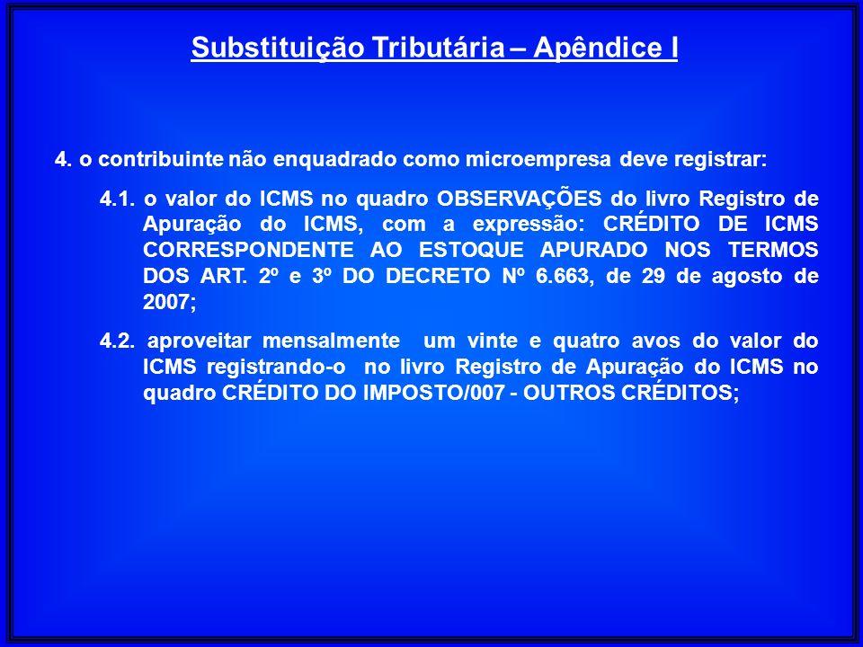 4. o contribuinte não enquadrado como microempresa deve registrar: 4.1. o valor do ICMS no quadro OBSERVAÇÕES do livro Registro de Apuração do ICMS, c