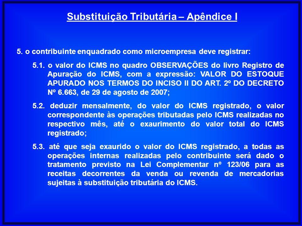 5. o contribuinte enquadrado como microempresa deve registrar: 5.1. o valor do ICMS no quadro OBSERVAÇÕES do livro Registro de Apuração do ICMS, com a