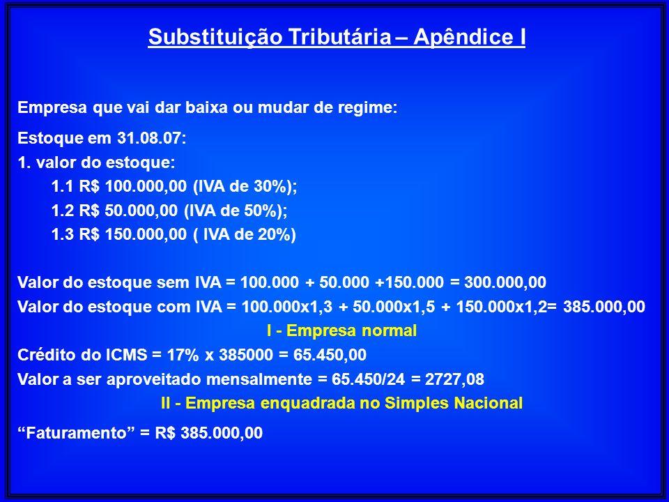 Substituição Tributária – Apêndice I Empresa que vai dar baixa ou mudar de regime: Estoque em 31.08.07: 1. valor do estoque: 1.1 R$ 100.000,00 (IVA de