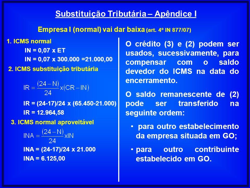 Substituição Tributária – Apêndice I Empresa I (normal) vai dar baixa (art. 4º IN 877/07) 1. ICMS normal IN = 0,07 x ET IN = 0,07 x 300.000 =21.000,00