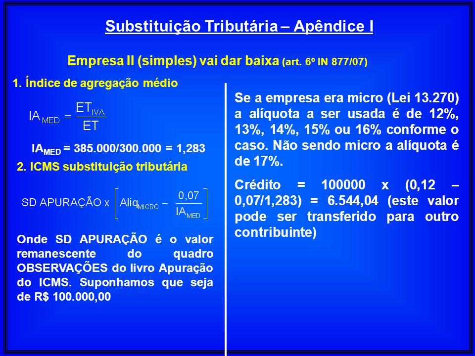 Substituição Tributária – Apêndice I Empresa II (simples) vai dar baixa (art. 6º IN 877/07) 1. Índice de agregação médio IA MED = 385.000/300.000 = 1,