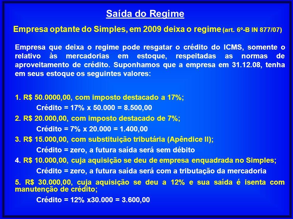 Saída do Regime Empresa optante do Simples, em 2009 deixa o regime (art. 6º-B IN 877/07) Empresa que deixa o regime pode resgatar o crédito do ICMS, s