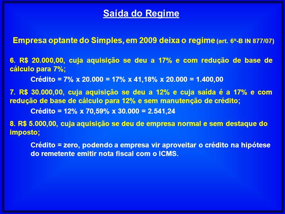 Saída do Regime Empresa optante do Simples, em 2009 deixa o regime (art. 6º-B IN 877/07) 6. R$ 20.000,00, cuja aquisição se deu a 17% e com redução de