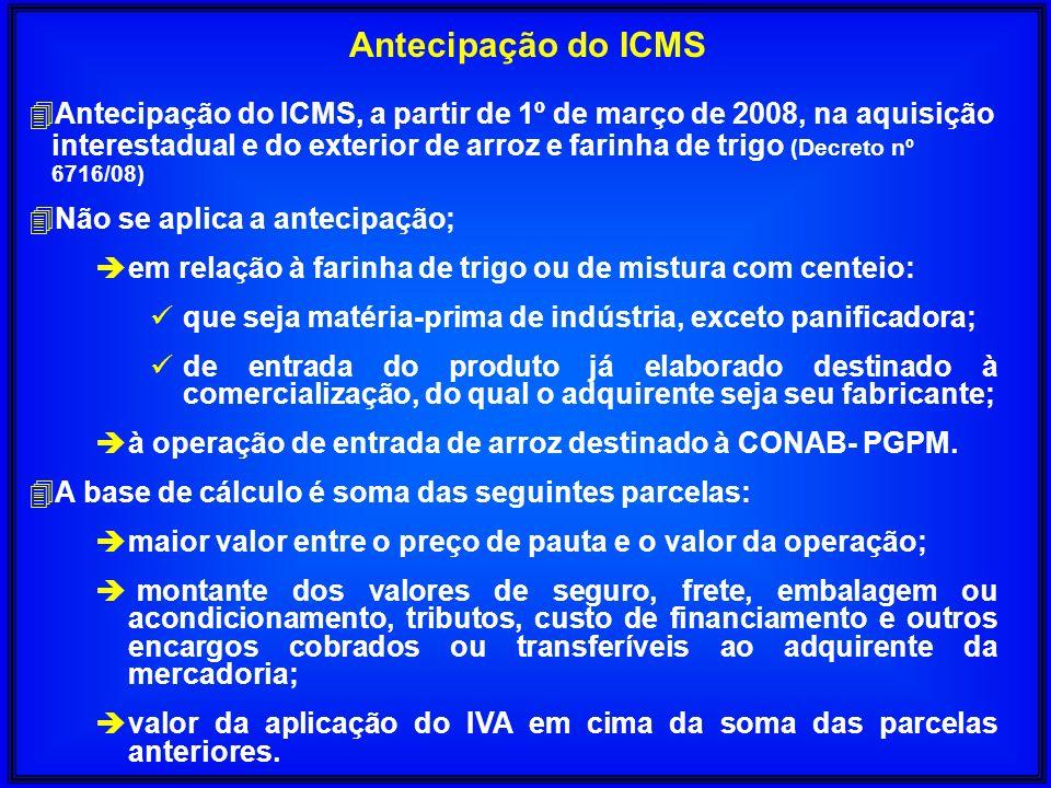 Antecipação do ICMS 4Antecipação do ICMS, a partir de 1º de março de 2008, na aquisição interestadual e do exterior de arroz e farinha de trigo (Decre