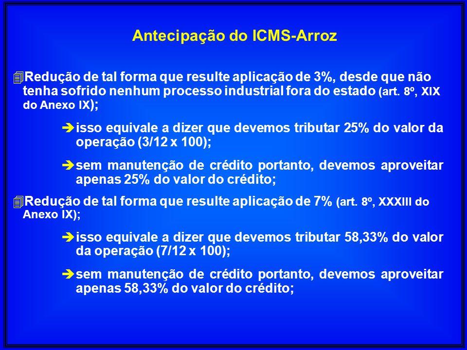 Antecipação do ICMS-Arroz 4Redução de tal forma que resulte aplicação de 3%, desde que não tenha sofrido nenhum processo industrial fora do estado (ar