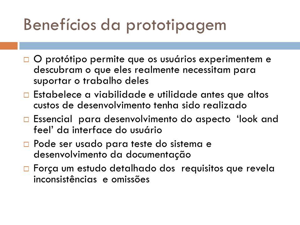 Tipos de prototipagem Prototipagem descartável Útil para ajudar a elicitação e desenvolvimento dos requisitos.
