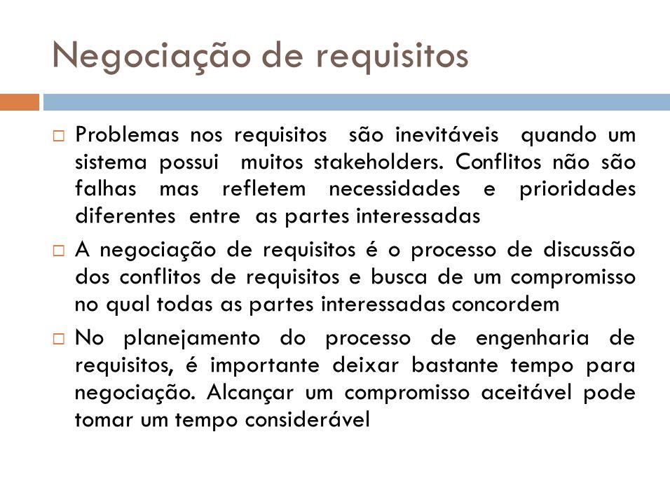 Encontros de negociação Um estágio de informação onde a natureza dos problemas associados com os requisitos são explicados.
