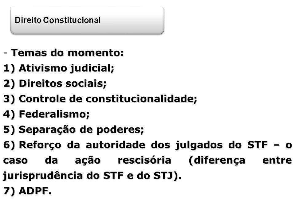 Direito Constitucional - Temas do momento: 1) Ativismo judicial; 2) Direitos sociais; 3) Controle de constitucionalidade; 4) Federalismo; 5) Separação