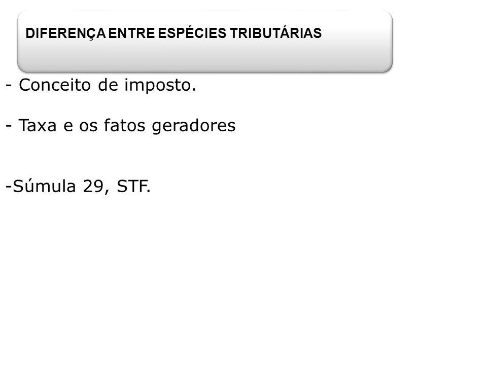DIFERENÇA ENTRE ESPÉCIES TRIBUTÁRIAS - Conceito de imposto. - Taxa e os fatos geradores -Súmula 29, STF.