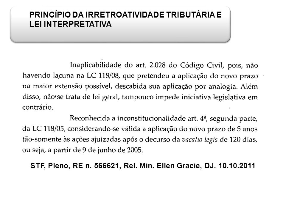 PRINCÍPIO DA IRRETROATIVIDADE TRIBUTÁRIA E LEI INTERPRETATIVA STF, Pleno, RE n. 566621, Rel. Min. Ellen Gracie, DJ. 10.10.2011