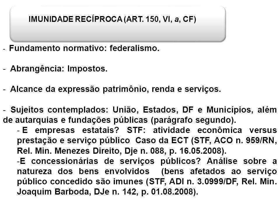 IMUNIDADE RECÍPROCA (ART. 150, VI, a, CF) - Fundamento normativo: federalismo. - Abrangência: Impostos. - Alcance da expressão patrimônio, renda e ser