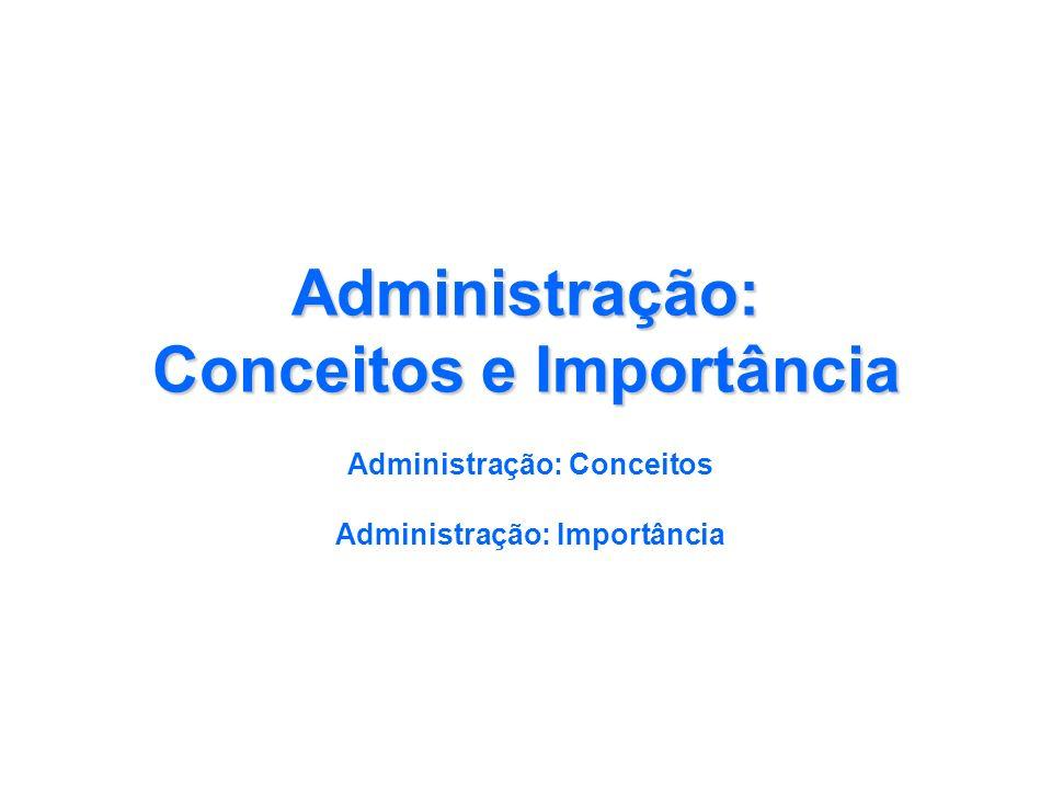 Administração: Conceitos e Importância Administração: Conceitos Administração: Importância