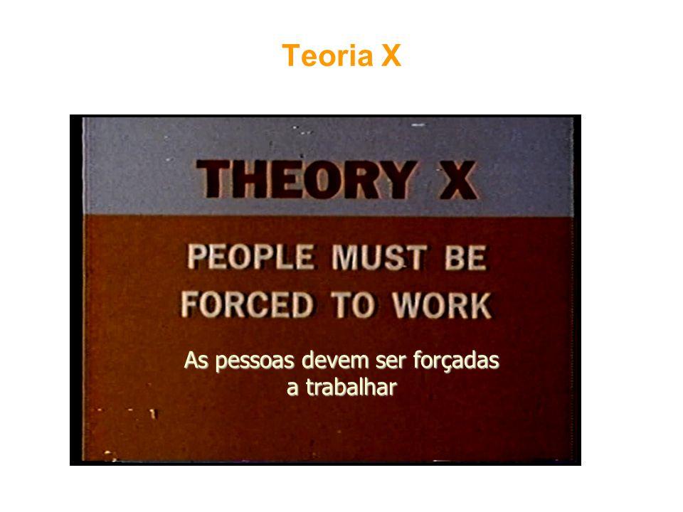 Teoria X As pessoas devem ser forçadas a trabalhar