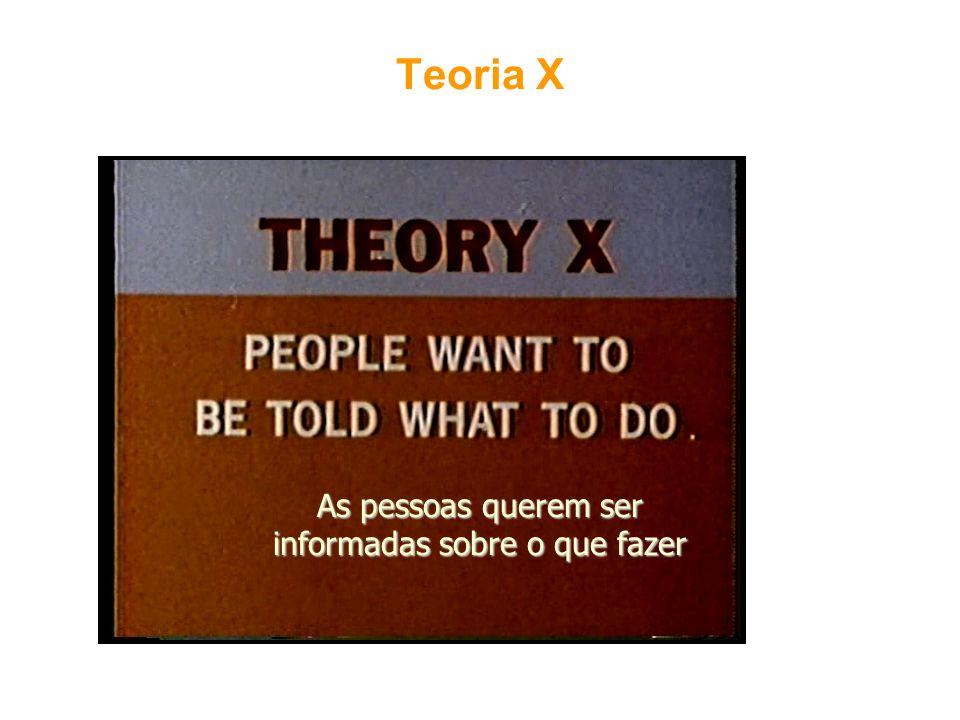 Teoria X As pessoas querem ser informadas sobre o que fazer