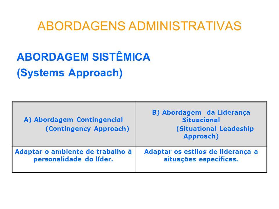 ABORDAGENS ADMINISTRATIVAS ABORDAGEM SISTÊMICA (Systems Approach) A) Abordagem Contingencial (Contingency Approach) B) Abordagem da Liderança Situacional (Situational Leadeship Approach) Adaptar o ambiente de trabalho à personalidade do líder.