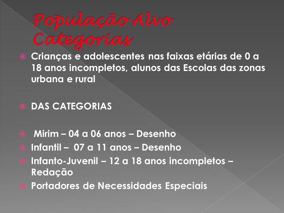 Crianças e adolescentes nas faixas etárias de 0 a 18 anos incompletos, alunos das Escolas das zonas urbana e rural DAS CATEGORIAS Mirim – 04 a 06 anos