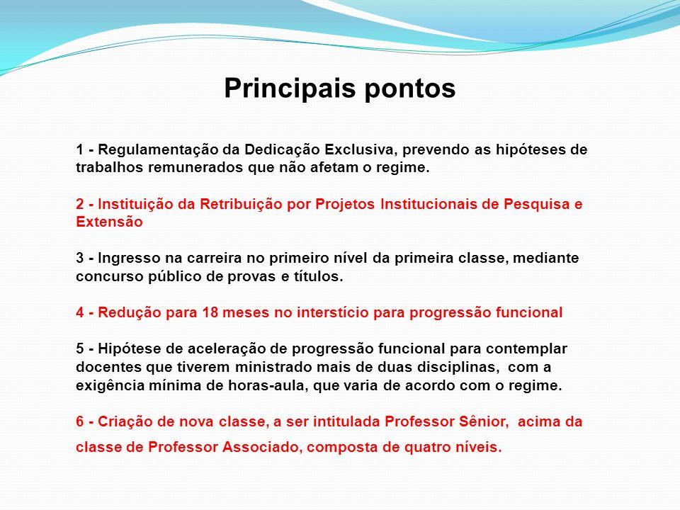 Principais pontos 1 - Regulamentação da Dedicação Exclusiva, prevendo as hipóteses de trabalhos remunerados que não afetam o regime. 2 - Instituição d