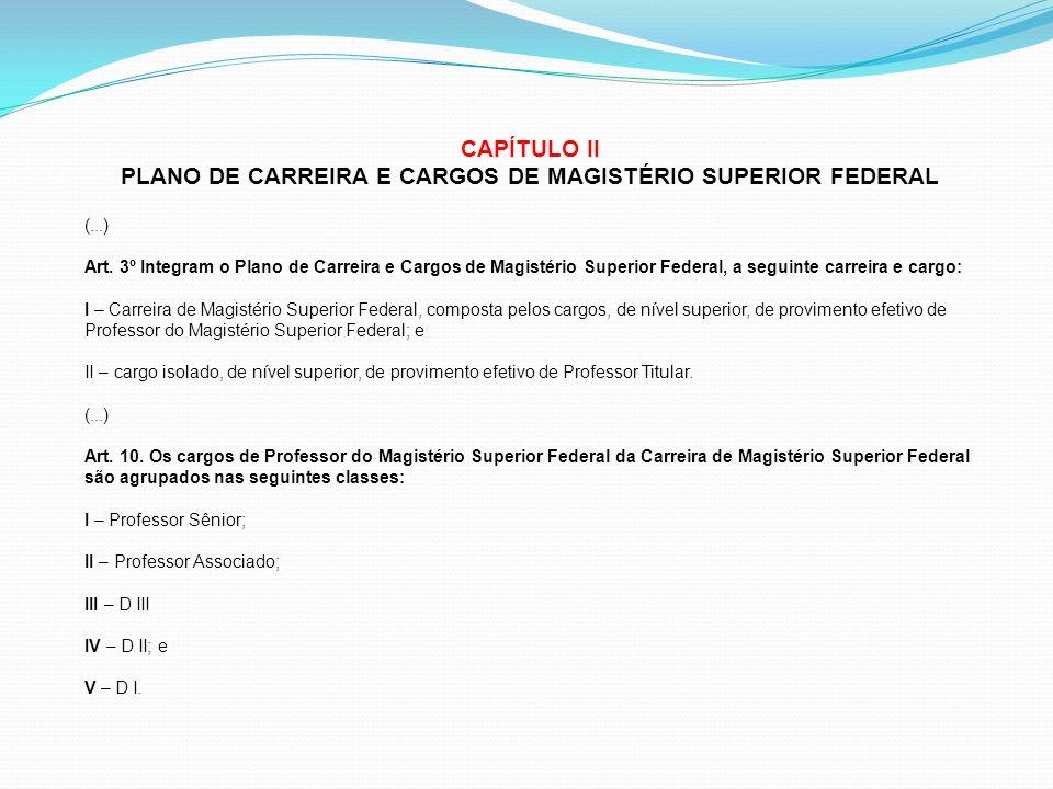CAPÍTULO II PLANO DE CARREIRA E CARGOS DE MAGISTÉRIO SUPERIOR FEDERAL (...) Art. 3º Integram o Plano de Carreira e Cargos de Magistério Superior Feder
