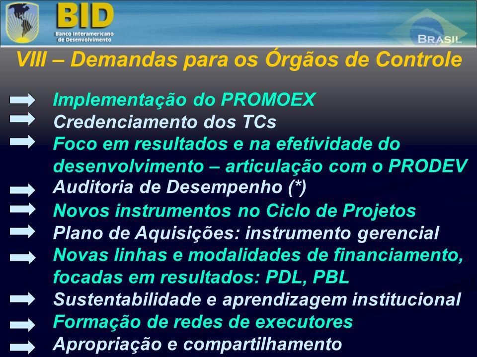 Implementação do PROMOEX Credenciamento dos TCs Foco em resultados e na efetividade do desenvolvimento – articulação com o PRODEV Auditoria de Desempe