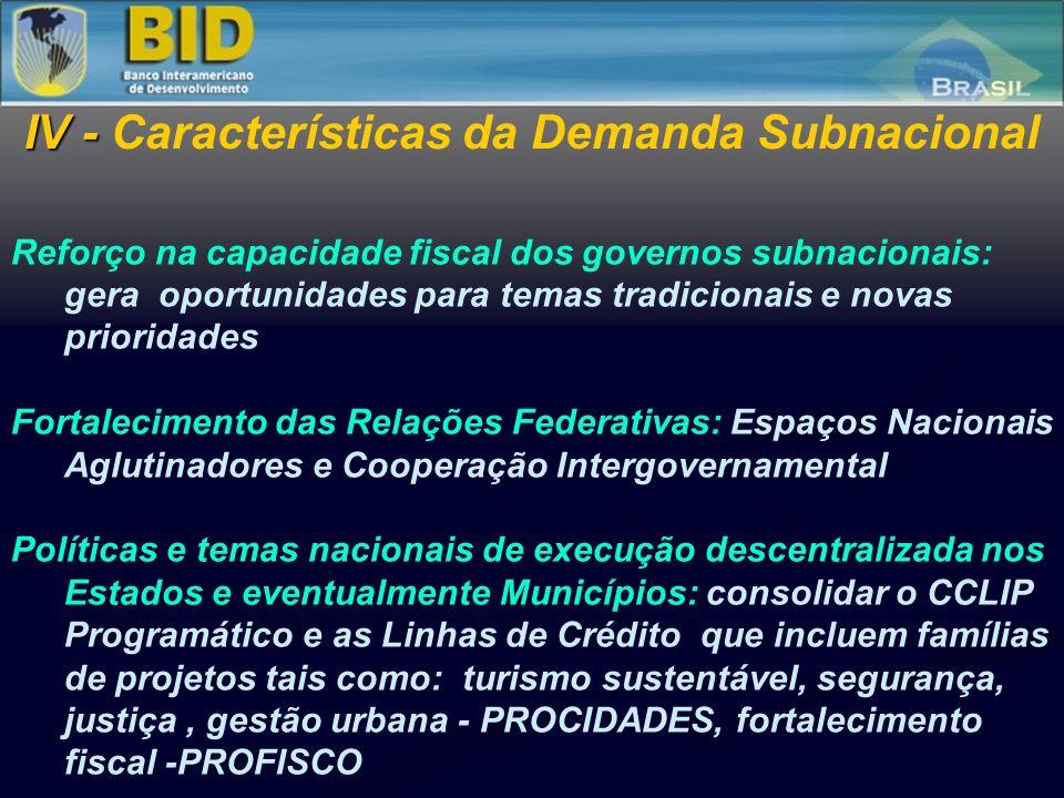 Reforço na capacidade fiscal dos governos subnacionais: gera oportunidades para temas tradicionais e novas prioridades Fortalecimento das Relações Fed
