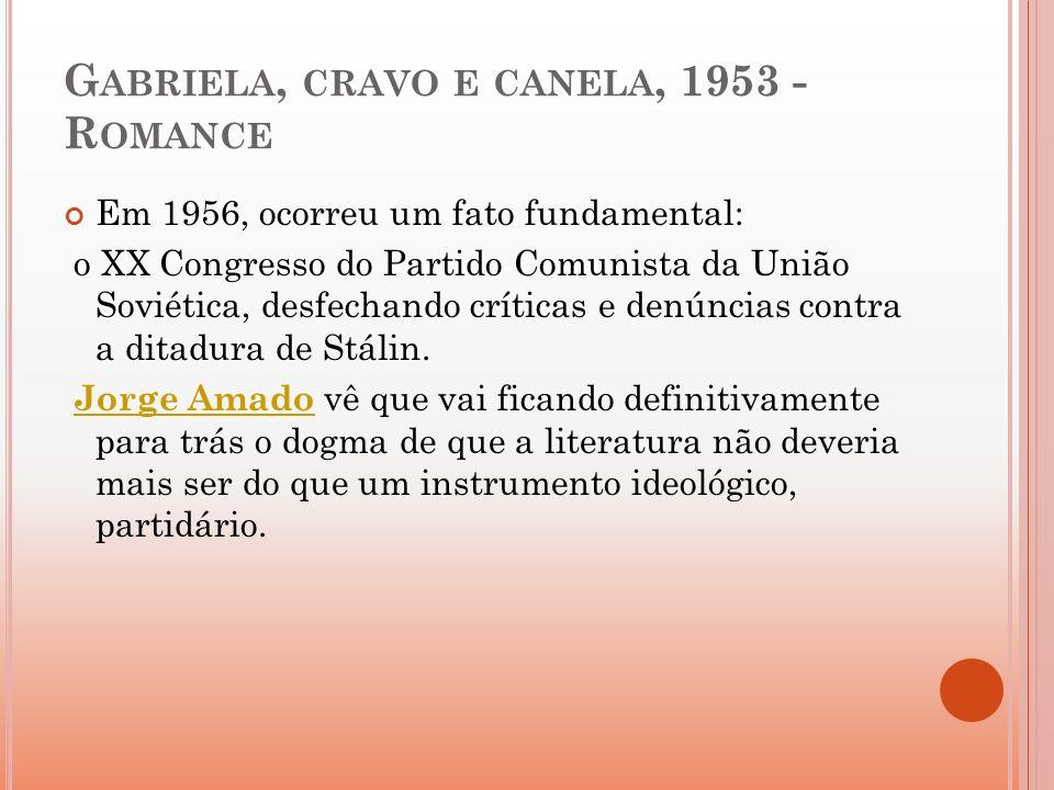 G ABRIELA, CRAVO E CANELA, 1953 - R OMANCE Em 1956, ocorreu um fato fundamental: o XX Congresso do Partido Comunista da União Soviética, desfechando c