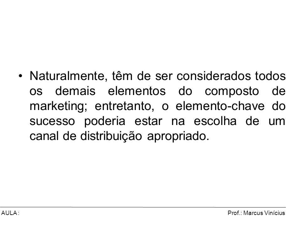 Prof.: Marcus ViníciusAULA : Naturalmente, têm de ser considerados todos os demais elementos do composto de marketing; entretanto, o elemento-chave do