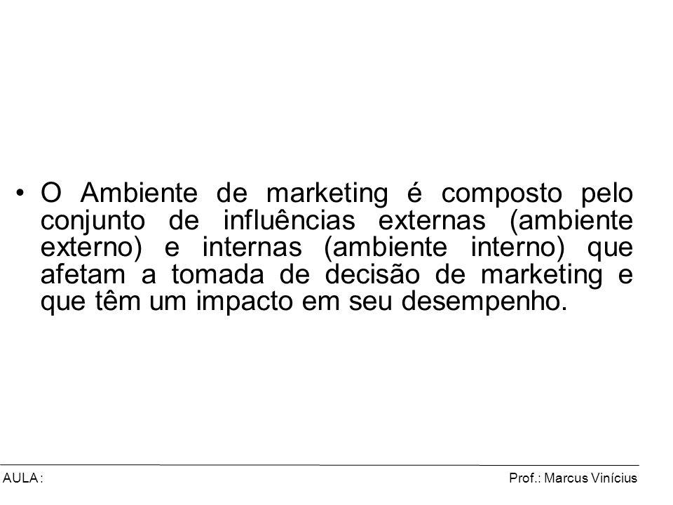 Prof.: Marcus ViníciusAULA : O Ambiente de marketing é composto pelo conjunto de influências externas (ambiente externo) e internas (ambiente interno)