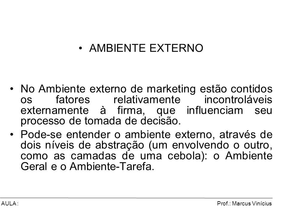 Prof.: Marcus ViníciusAULA : AMBIENTE EXTERNO No Ambiente externo de marketing estão contidos os fatores relativamente incontroláveis externamente à f