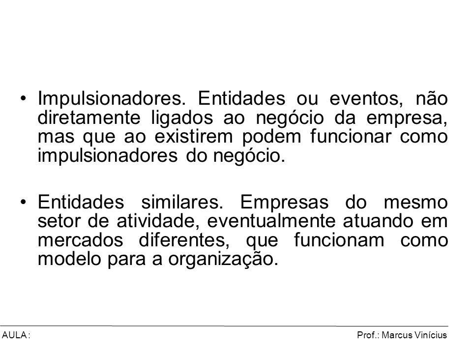 Prof.: Marcus ViníciusAULA : Impulsionadores. Entidades ou eventos, não diretamente ligados ao negócio da empresa, mas que ao existirem podem funciona