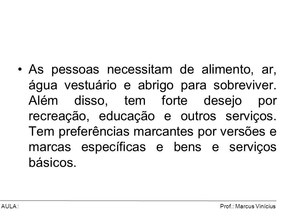 Prof.: Marcus ViníciusAULA : As pessoas necessitam de alimento, ar, água vestuário e abrigo para sobreviver. Além disso, tem forte desejo por recreaçã