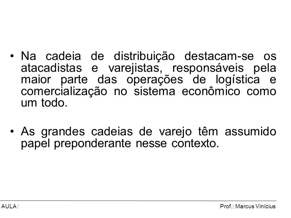 Prof.: Marcus ViníciusAULA : Na cadeia de distribuição destacam-se os atacadistas e varejistas, responsáveis pela maior parte das operações de logísti