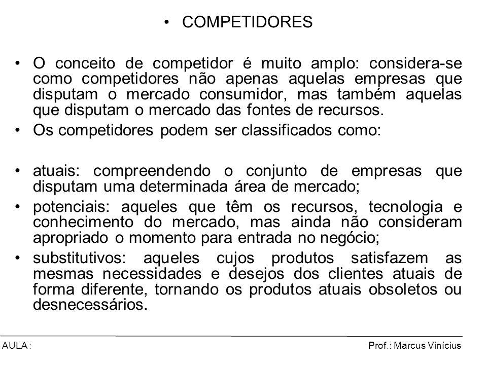 Prof.: Marcus ViníciusAULA : COMPETIDORES O conceito de competidor é muito amplo: considera-se como competidores não apenas aquelas empresas que dispu
