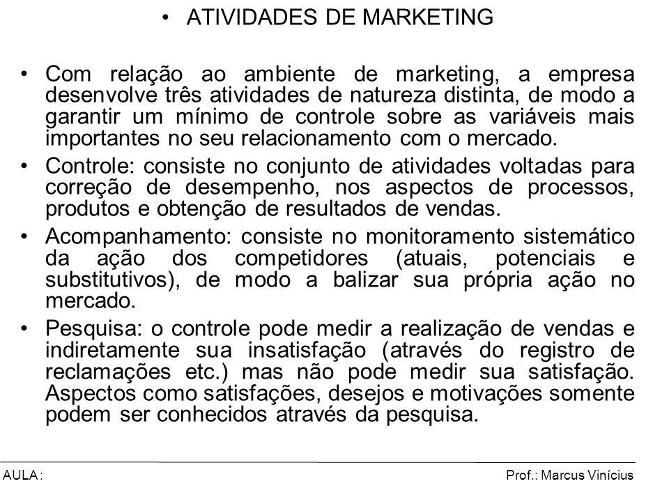 Prof.: Marcus ViníciusAULA : ATIVIDADES DE MARKETING Com relação ao ambiente de marketing, a empresa desenvolve três atividades de natureza distinta,