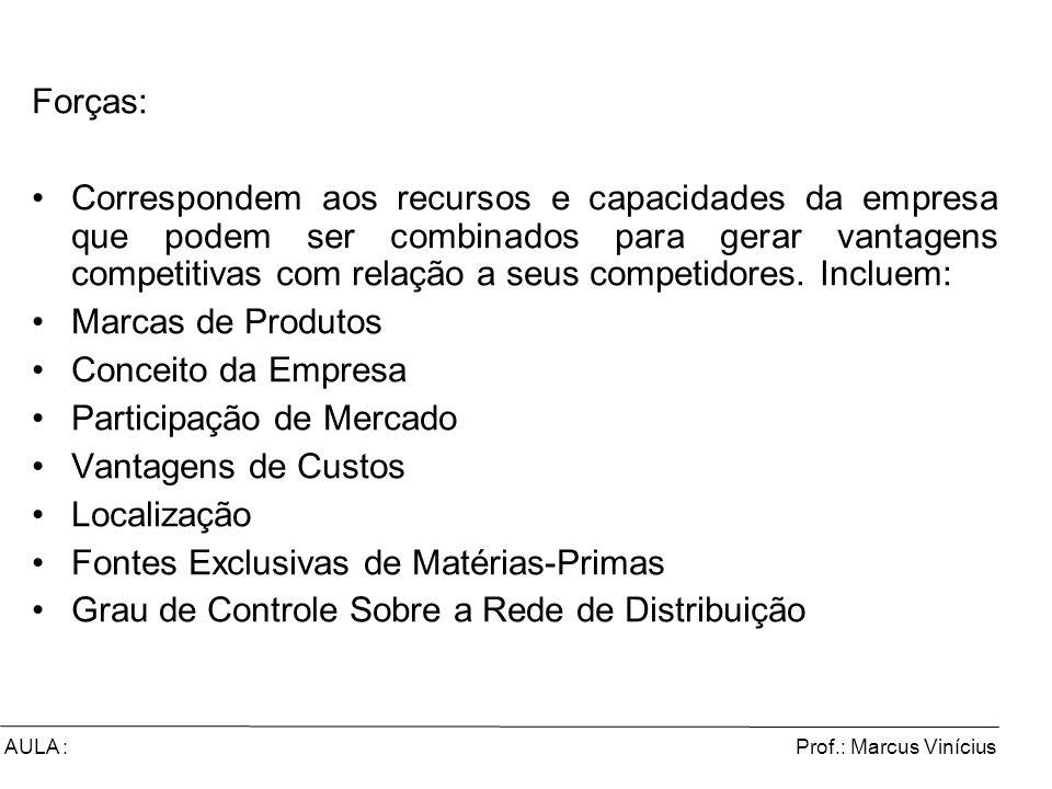 Prof.: Marcus ViníciusAULA : Forças: Correspondem aos recursos e capacidades da empresa que podem ser combinados para gerar vantagens competitivas com