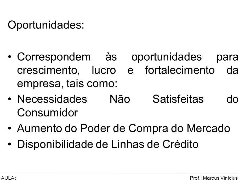 Prof.: Marcus ViníciusAULA : Oportunidades: Correspondem às oportunidades para crescimento, lucro e fortalecimento da empresa, tais como: Necessidades