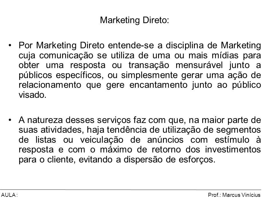 Prof.: Marcus ViníciusAULA : Marketing Direto: Por Marketing Direto entende-se a disciplina de Marketing cuja comunicação se utiliza de uma ou mais mí