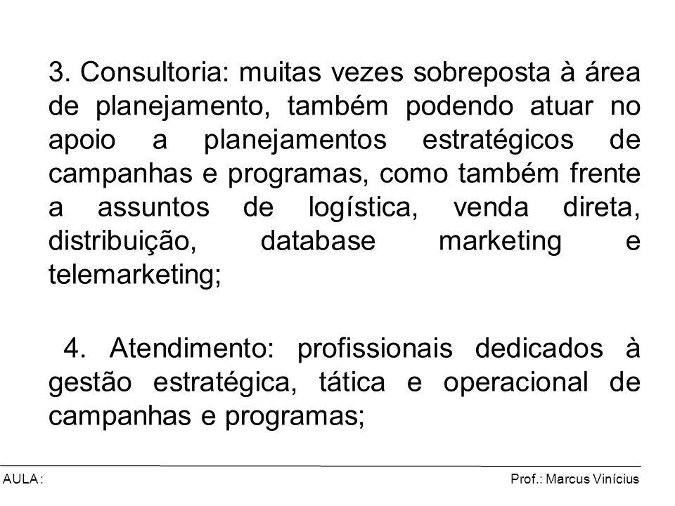 Prof.: Marcus ViníciusAULA : 3. Consultoria: muitas vezes sobreposta à área de planejamento, também podendo atuar no apoio a planejamentos estratégico