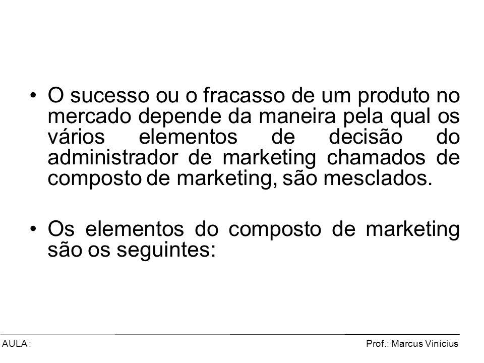 Prof.: Marcus ViníciusAULA : O sucesso ou o fracasso de um produto no mercado depende da maneira pela qual os vários elementos de decisão do administr