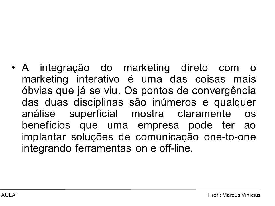 Prof.: Marcus ViníciusAULA : A integração do marketing direto com o marketing interativo é uma das coisas mais óbvias que já se viu. Os pontos de conv