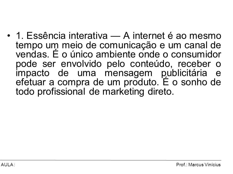 Prof.: Marcus ViníciusAULA : 1. Essência interativa A internet é ao mesmo tempo um meio de comunicação e um canal de vendas. É o único ambiente onde o