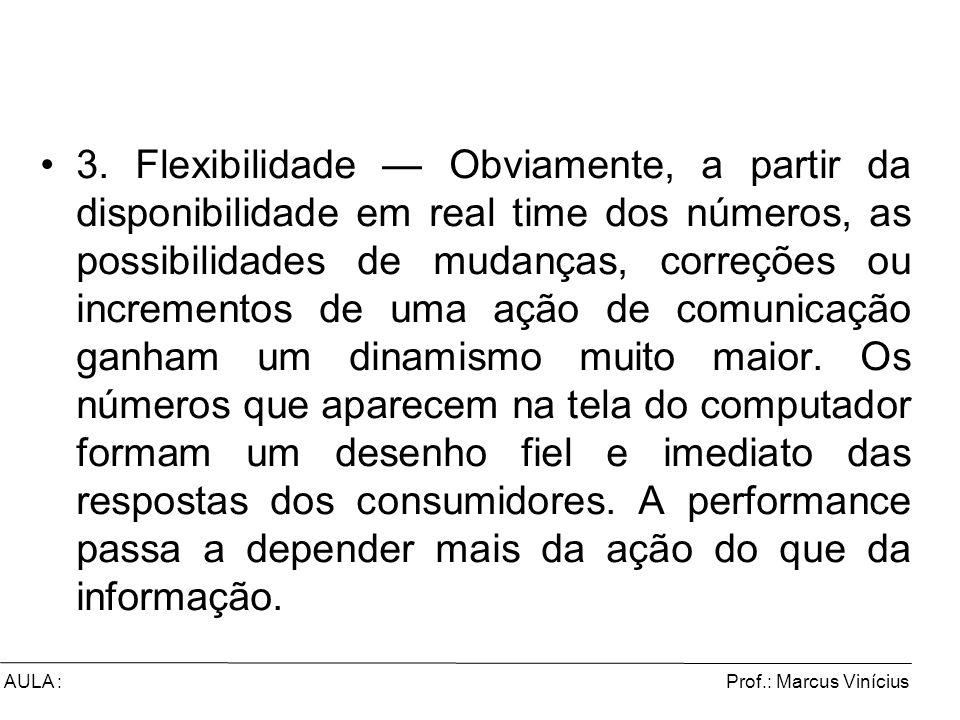 Prof.: Marcus ViníciusAULA : 3. Flexibilidade Obviamente, a partir da disponibilidade em real time dos números, as possibilidades de mudanças, correçõ